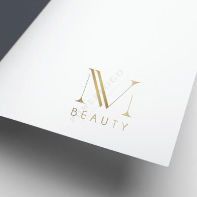 MV letters logo ontwerp goud