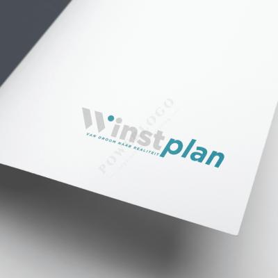 W letter logo ontwerp - Winstplan logo